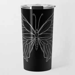 Sketchy Butterfly | Sketchy Lines | Line art | Black and White Travel Mug