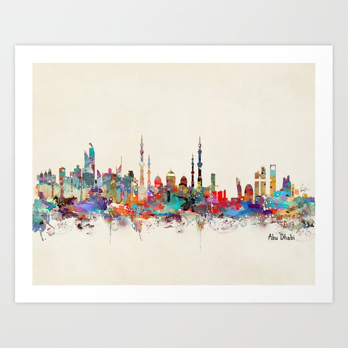 Abu Dhabi Skyline Art Print By Bribuckley Society6