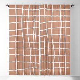 Hand Drawn Grid (white/burnt orange) Sheer Curtain