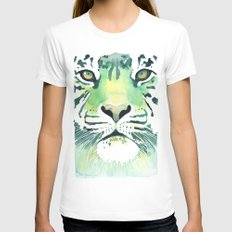 Green Tiger MEDIUM Womens Fitted Tee White