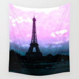 Paris Eiffel Tower : Lavender Teal Wall Tapestry
