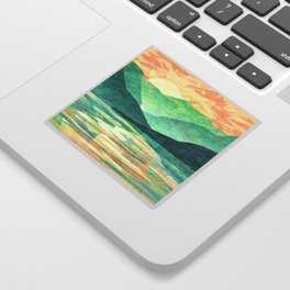 Spring Sunset over Emerald Mountain Landscape Painting Sticker