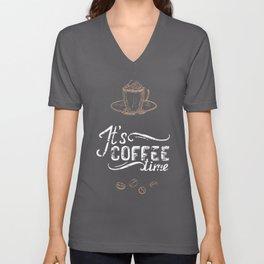 Coffee blackboard lettering — It's coffee time Unisex V-Neck