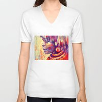 african V-neck T-shirts featuring African portrait by Marta Zawadzka