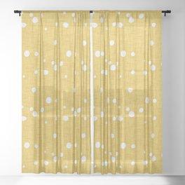 Modern Farm House Polka Dots Mustard Sheer Curtain