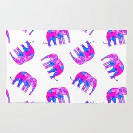 Watercolor Elephants in Bubblegum Pink + White Rug