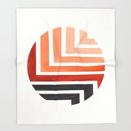 Burnt Sienna Circle Round Framed Mid Century Modern Aztec Geometric Pattern Maze Throw Blanket