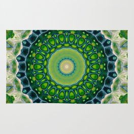 Green Kaleidoscope Mandala Abstract Digital Aret Rug