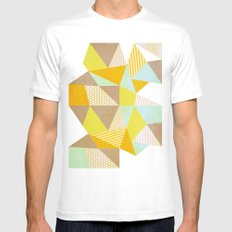 Geometric Warm White Mens Fitted Tee MEDIUM