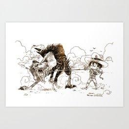 Rodéo Préhistorique / Prehistoric Rodeo Art Print