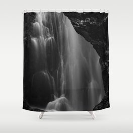 Black and white waterfall long exposure Shower Curtain