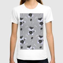 Happy Birthday Black Fox Grey Background Pattern T-shirt