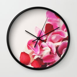Scattered Pink + Red Rose Petals Wall Clock