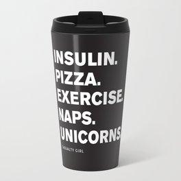 Insulin Pizza Naps (Black) Travel Mug