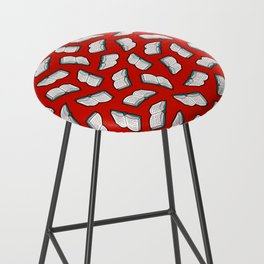 Bookish Reading Pattern in Red Bar Stool