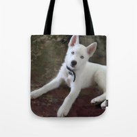eddie vedder Tote Bags featuring Vedder Pillow by CindiParkinson