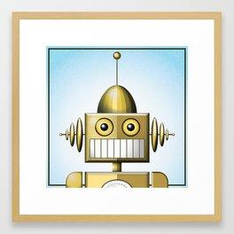 Gold Robot Head Shot Framed Art Print