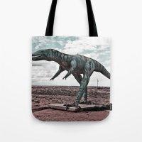 dino Tote Bags featuring Dino by Nick Douillard