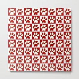 Dog Red Footprint Cute Metal Print