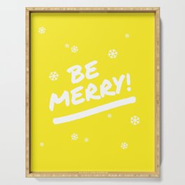 Bright Yellow Be Merry Christmas Snowflakes Serving Tray