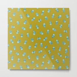 Mustard+Teal Succulents Metal Print
