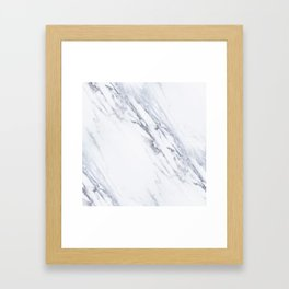 White Marble with Classic Black Veins Framed Art Print