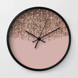 Blush Pink Rose Gold Bronze Cascading Glitter Wall Clock