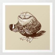 Owl needs Coffee Art Print