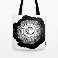 tree rings Tote Bags featuring Tree Rings by vogel