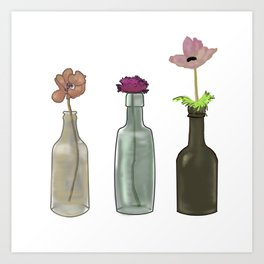Flowers in Glass Bottles . Pastel Colors Art Print