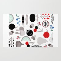 50s Area & Throw Rugs featuring Mushroom Berries Nuts and Fruits / Classic 50s pattern by In The Modern Era
