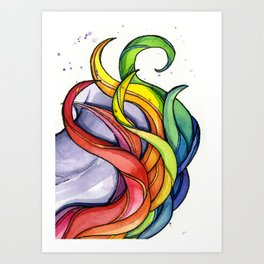 Rainbow Swirls Watercolor Curls Art Print