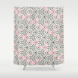 Flight from the Black & White & Red All Over Collection Shower Curtain