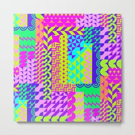 Abstract geometrical neon colors eclectic pattern Metal Print
