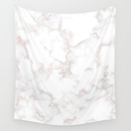 Rose Gold Marble Natural Stone Gold Metallic Veining White Quartz Wall Tapestry