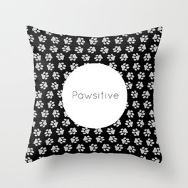 Pawsitive Paws - dog lover animals pattern Throw Pillow