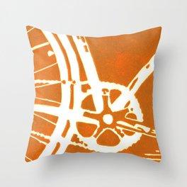 Orange Bike Throw Pillow
