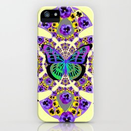 PURPLE  PANSIES & EXOTIC BUTTERFLY GEOMETRIC DESIGN iPhone Case