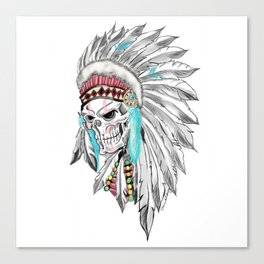 indian skull headdres tattoo Canvas Print
