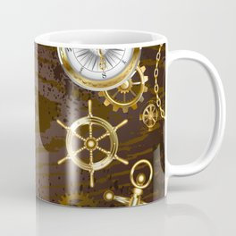 Wooden Background with Mechanical Seahorse ( Steampunk ) Coffee Mug