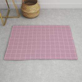 French Pink Linen Check Rug