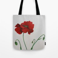 poppy Tote Bags featuring Poppy by Diane Nicholson