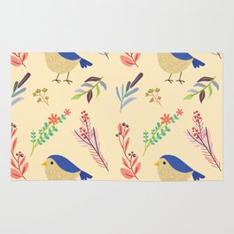 Cute hand painted blue coral ivory bird floral pattern Rug