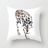 monster hunter Throw Pillows featuring Hunter by Stevyn Llewellyn