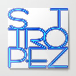St. Tropez in blue neon Metal Print