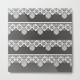 White seamless lace pattern on gray background Metal Print