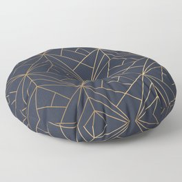 Navy blue Gold Geometric Pattern With White Shimmer Floor Pillow
