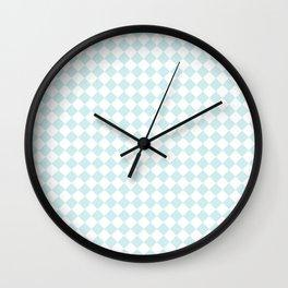 Small Diamonds - White and Light Cyan Wall Clock