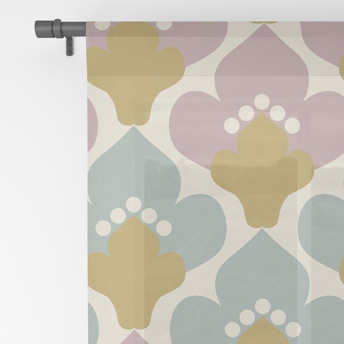 Grayish Red & Grayish Cyan  Flower Pattern Sheer Curtain