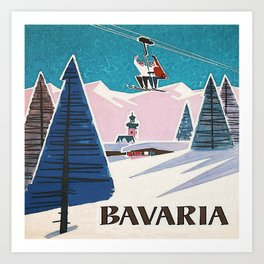 Bavaria, Germany Vintage Ski Travel Poster Art Print